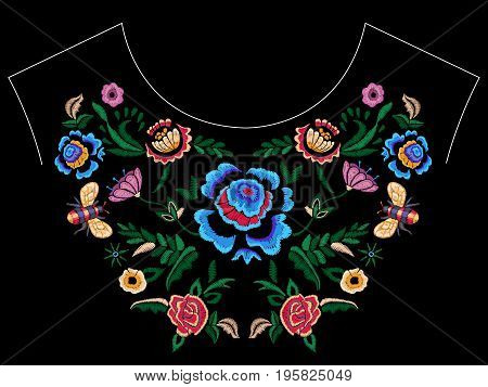 Embroidery folk neckline pattern with fantasy simplify flowers. Vector embroidered floral patch for clothing design.
