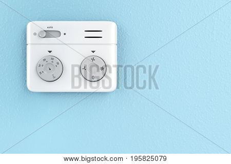 Thermostat on the wall front view, 3D illustration