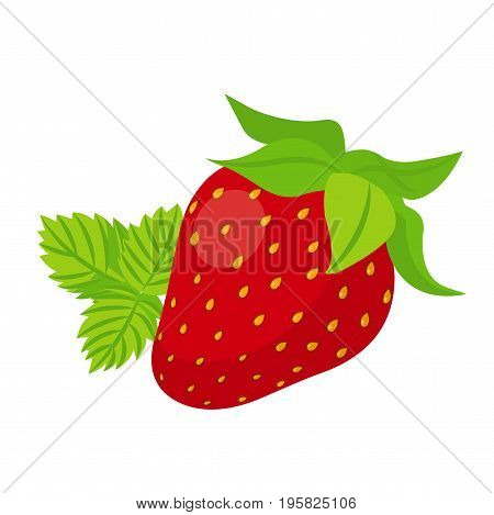 Sweet ripe mellow red strawberry with green leaves flat isolated icon design vector illustration on white background