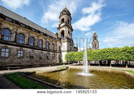 Vew on the Court of Appeal building with fountain on the Bruhl terrace in Dresden city, Germany