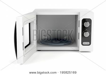Microwave oven with open door on white background, 3D illustration