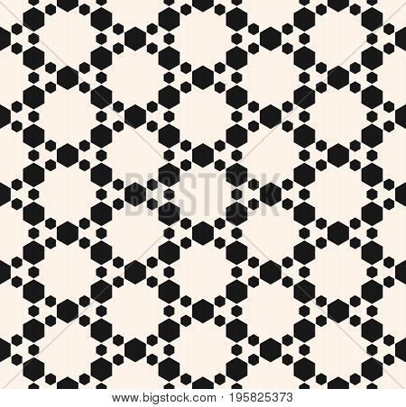 Grid pattern. Subtle geometric seamless pattern with hexagons. Abstract modern texture, delicate hexagonal grid. Stylish monochrome geometrical background. Design element for home decor, textile, fabric, package. Geometric pattern.