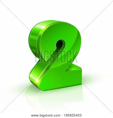 Glossy green Two 2 number. 3d Illustration on white background. Vector