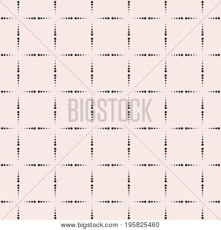 Square pattern. Vector seamless pattern. Simple geometric texture with dotted halftone lines, square grid. Abstract monochrome repeat background. Modern design element for prints, textile, digital, fabric, cover, web. Square background.