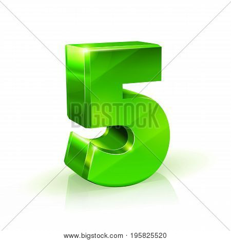 Glossy green Five 5 number. 3d Illustration on white background. Vector