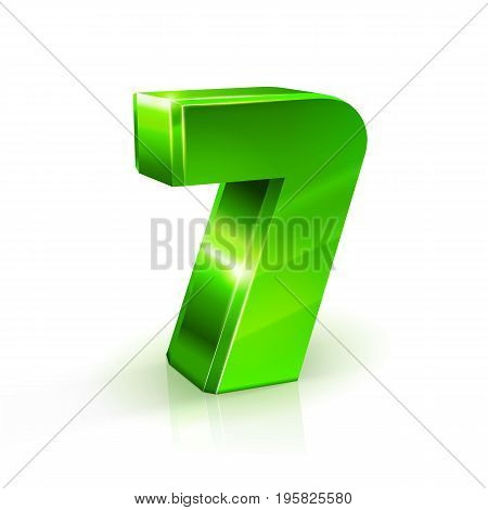 Glossy green Seven 7 number. 3d Illustration on white background. Vector