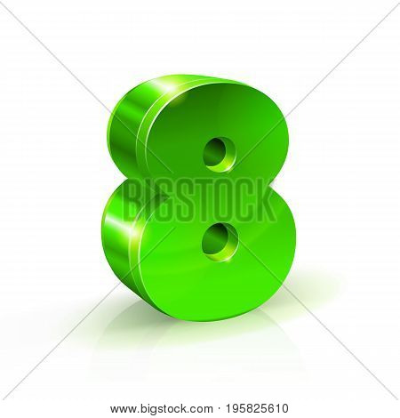 Glossy green Eight 8 number. 3d Illustration on white background. Vector