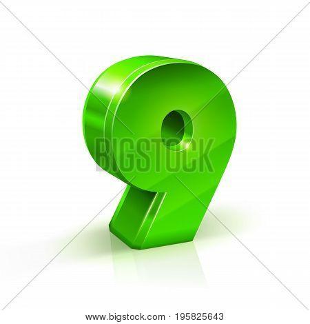 Glossy green Nine 9 number. 3d Illustration on white background. Vector