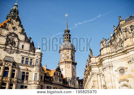 View on the Hausmannsturm tower of the old castle and city gates in Dresden, Germany
