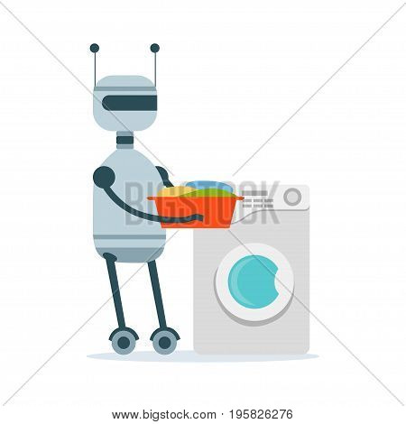 Housemaid android character washing clothes in the washing machine vector Illustration isolated on a white background