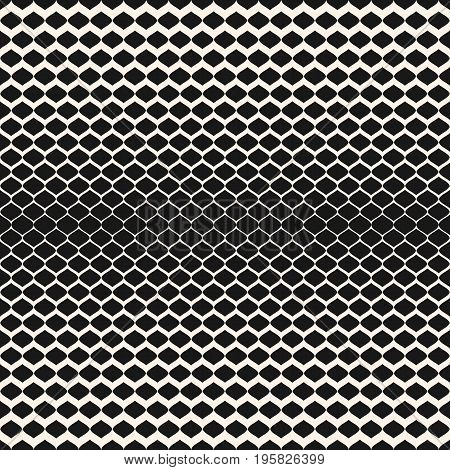 Halftone seamless pattern. Vector monochrome texture with gradient transition effect. Illustration of mesh, lattice with gradually thickness. Modern abstract background. Design for prints, fabric, web. Halftone background. Lattice pattern.