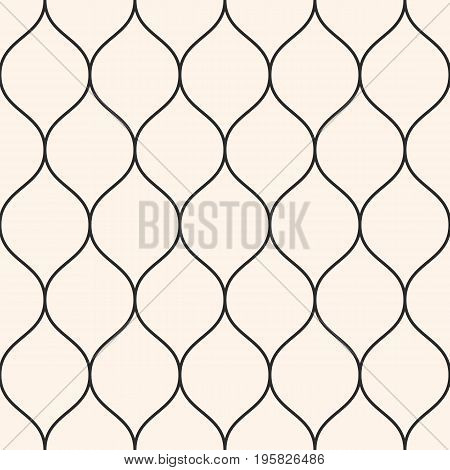 Vector seamless pattern, thin wavy lines. Texture of mesh, fishnet, lace, weaving smooth grid. Subtle monochrome geometric background. Design element for prints, decor, fabric, furniture, web, covers.