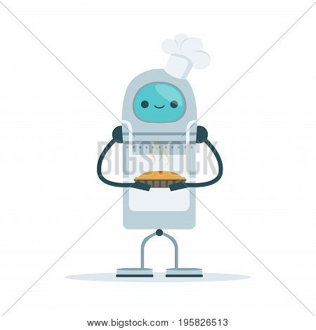 Chef android character baking a cake vector Illustration isolated on a white background