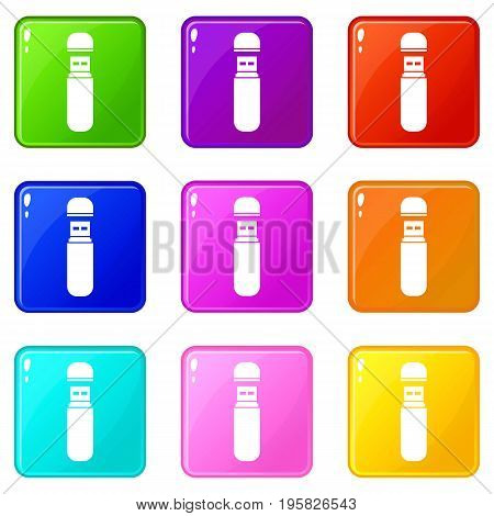 USB flash drive icons of 9 color set isolated vector illustration