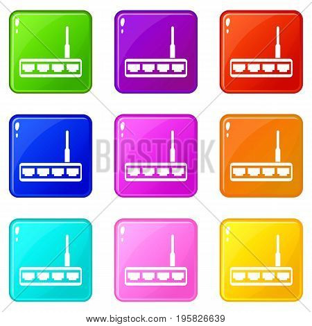 Router icons of 9 color set isolated vector illustration