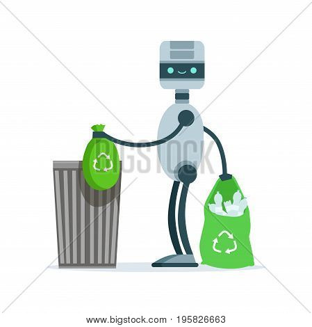 Housemaid android character throwing bags of garbage vector Illustration isolated on a white background