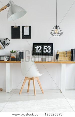 Wooden Desk In Room