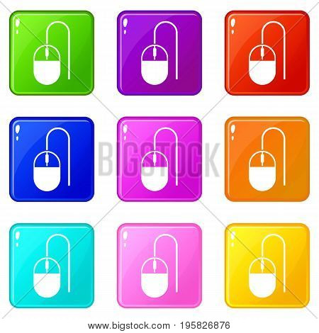 Computer mouse icons of 9 color set isolated vector illustration