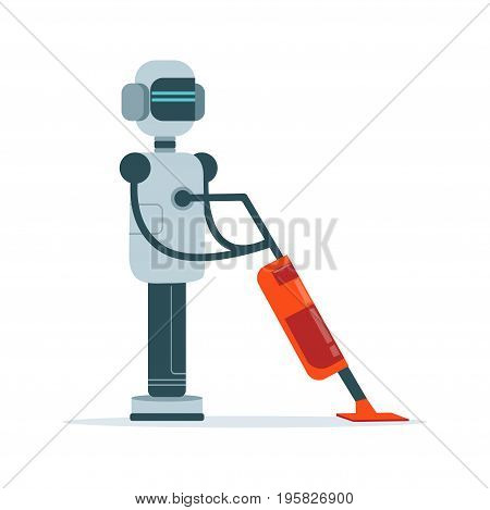 Housemaid android character with vacuum cleaner vector Illustration isolated on a white background
