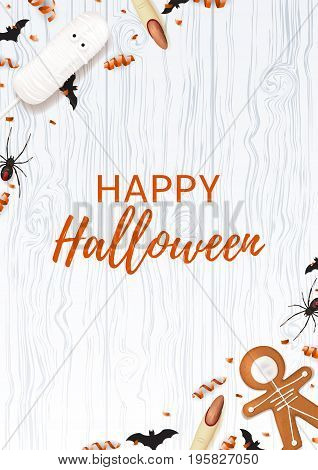 Halloween poster with sweets. Top view on spiders, paper bats and confetti on wooden texture. Vector illustration with cookies in form of skeleton gingerbread man. Cream cake in form of mummy.