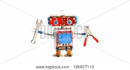 Handyman robot chat bot with hand wrench, pliers on white background. Smiley red head mechanical cyborg, blue monitor body. Message hello on blue monitor display