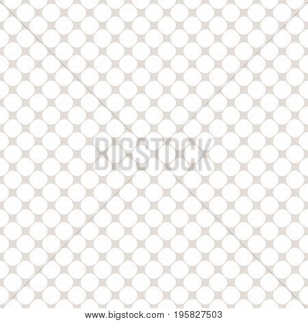 Mesh pattern. Circles seamless pattern, simple vector geometric texture in soft pastel colors white & beige. Illustration of perforated surface, mesh. Grid pattern. Subtle modern repeat background. Decorative design element. Circle pattern. Circle design.