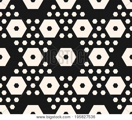 Vector monochrome texture, simple geometric seamless pattern with big and small hexagons. Dark abstract modern background, repeat tiles. Design element for textile, decor, print, textile, cover, cloth. Hexagon background. Honeycomb pattern. Octagon patter