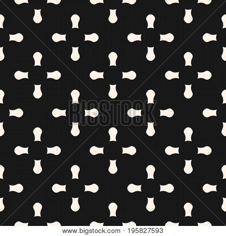 Cross background. Vector seamless pattern, simple geometric background with rounded cross shapes, keyholes. Dark abstract monochrome texture, stylish decorative element. Repeat design for prints fabric, package, decor. x pattern.