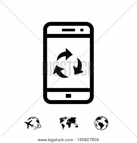 Recycle sign on smartphone screen icon stock vector illustration flat design