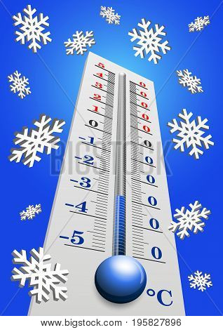 Thermometer - Air temperature measuring device in vector. Cold weather. On the thermometer -30 degrees