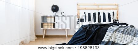 Bed With Black And White Bedsheets