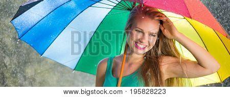 Optimistic Girl During Summer Rain