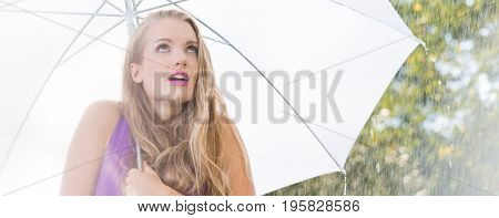 Frightened Woman With Umbrella