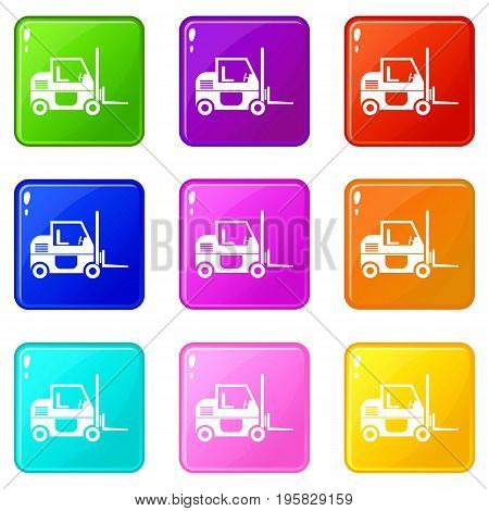 Forklift icons of 9 color set isolated vector illustration