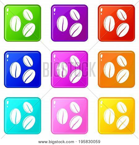 Coffee beans icons of 9 color set isolated vector illustration