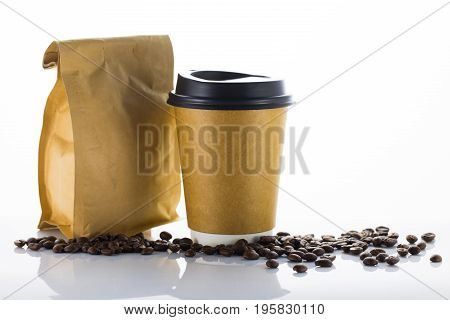 Coffee beans and Paper cup of coffee on white background