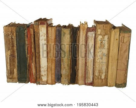 Very old and worn books isolated on white background.
