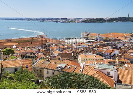 Aerial view of the Praça do Comércio in Lisbon Portugal with the Tagus River and the South margin as a background