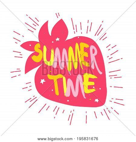 Silhouette of strawberry with stars and lettering text Summer time. Vector label.