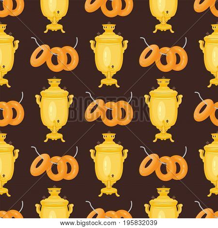 Background tea samovar russian traditional teapot seamless pattern cuisine bagel food boublik vector illustration. Cup drink hot vintage antiques texture party decoration gold pot.