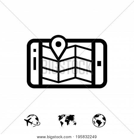 phone and map icon stock vector illustration flat design
