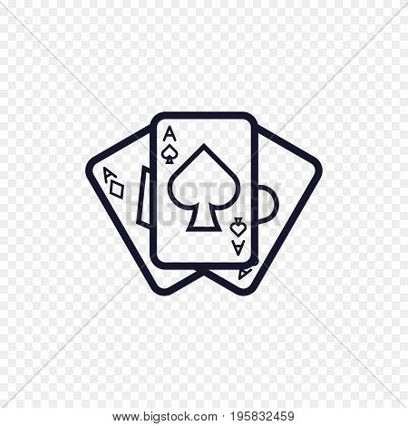 Play card icon casino game. Ace poker cards thin linear signs. Outline concept for websites, infographic, mobile applications.