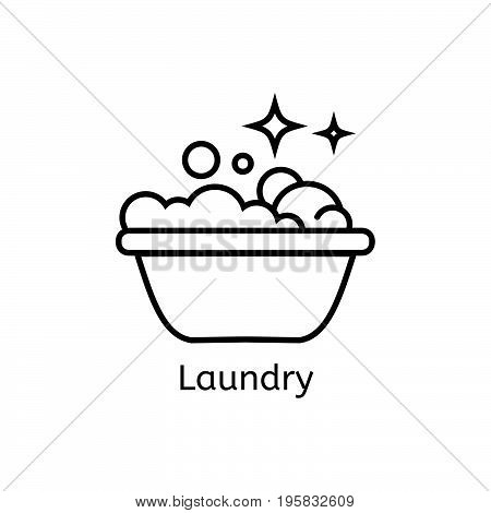 Basin with soap simple line icon. Laundry thin linear signs. Washing simple concept for websites, infographic, mobile app.