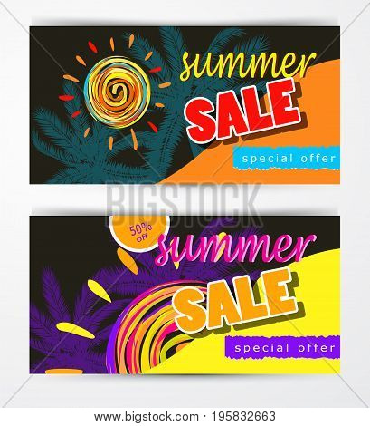 set of summer sale template banner vector illustration with sun