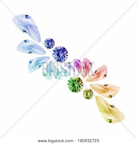Group of colorful gems and crystals on white background