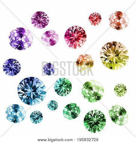 Group of colorful shiny gems on white background