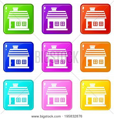 One-storey house icons of 9 color set isolated vector illustration
