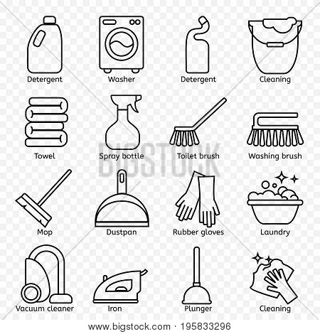 Cleaning, wash line icons. Washing machine, sponge, mop, iron, vacuum cleaner, shovel and other clining elements. Order in the house thin linear signs for cleaning service.