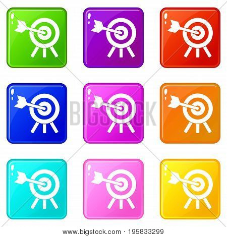 Arrow hit the target icons of 9 color set isolated vector illustration
