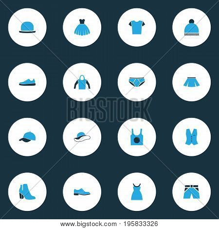 Garment Colorful Icons Set. Collection Of Beanie, Female Boots, Dress And Other Elements